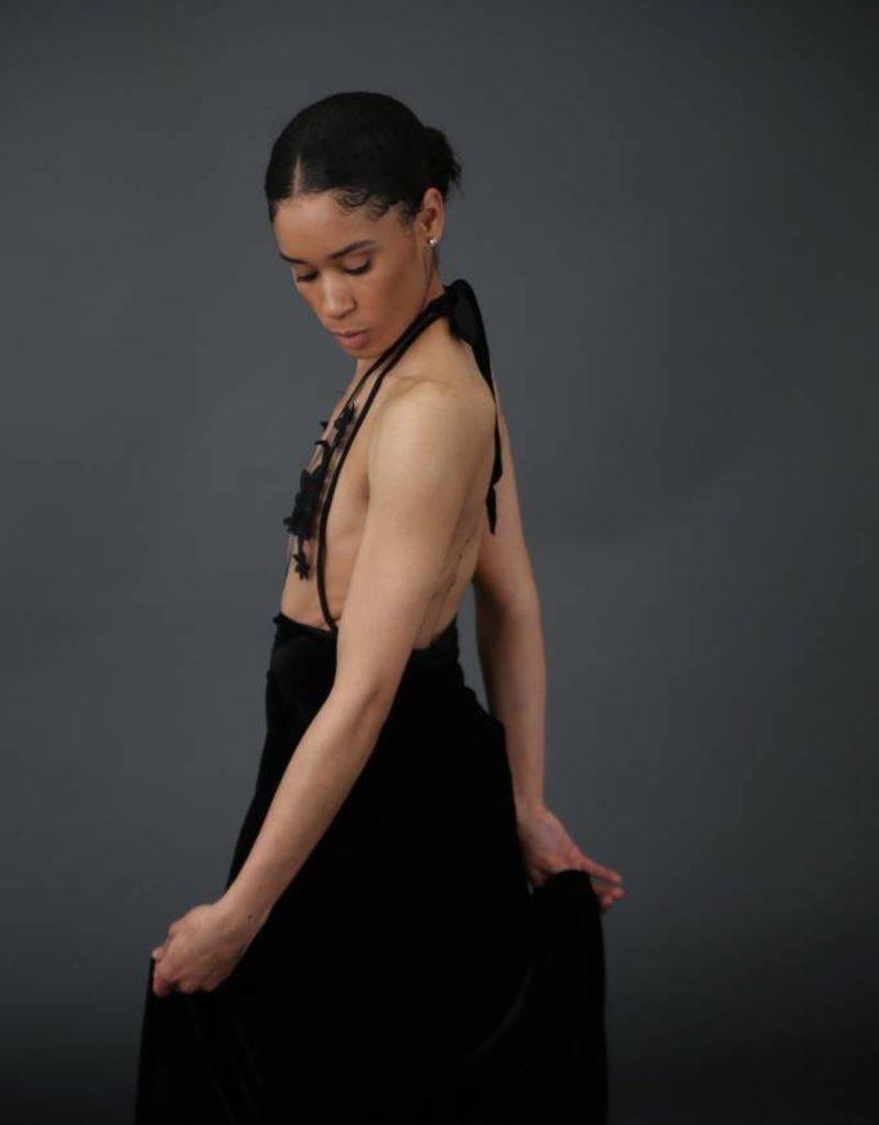 BellaNiecele Couture Side Slit Velvet Draped Skirt
