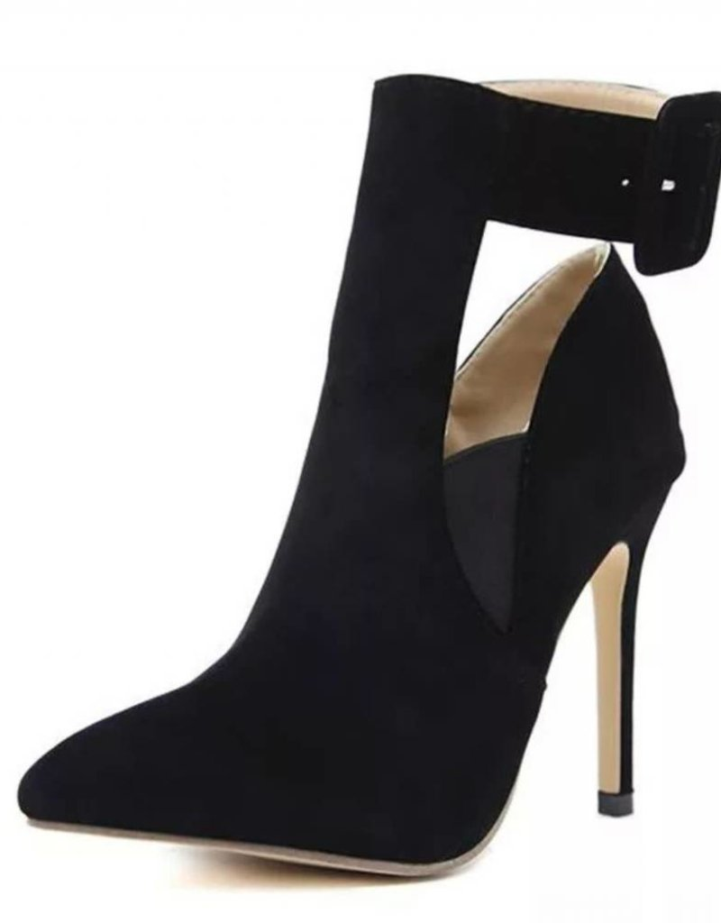 BellaNiecele Flock Buckle Strap Pointed Toe High Heels