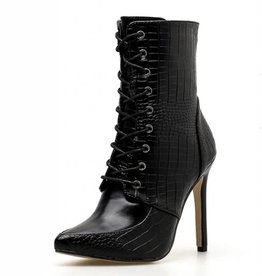 BellaNiecele Leather Snake texture High Heel Boots