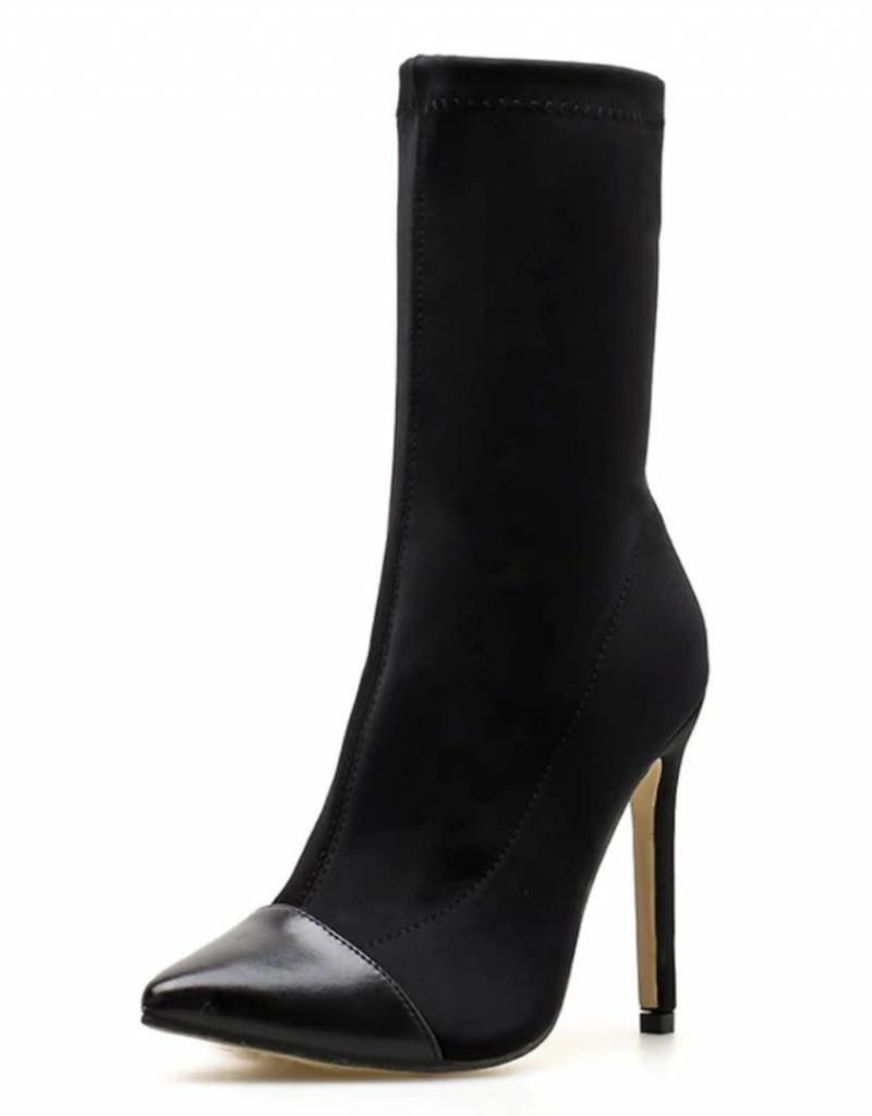 Leather Point Heel Boot