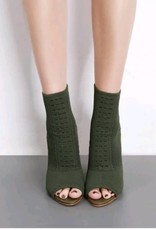 BellaNiecele Knit Open Toe  Heel Boots