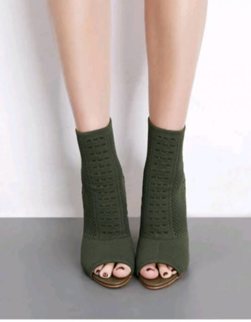 Knit Open Toe  Heel Boots