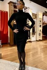 Rib Knit Turtle Neck Sweater Dress