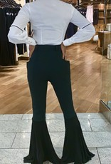 High Waist Plunge Pocket Flaired Trousers