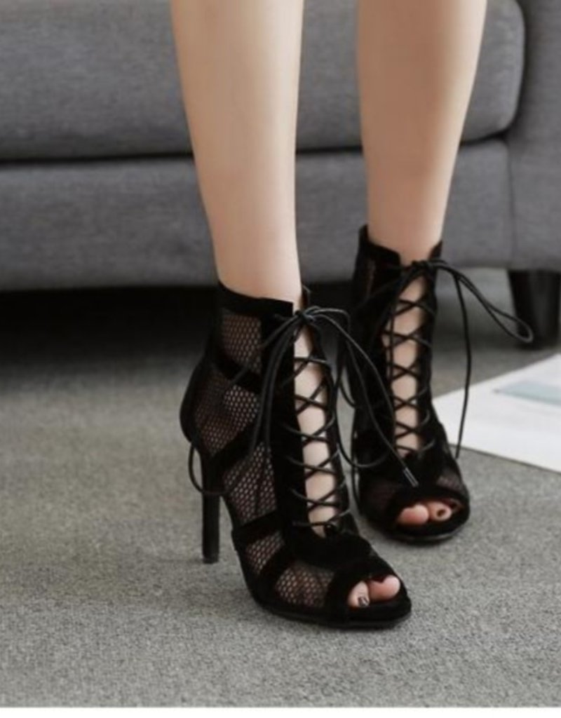 Net Suede Cross Stap Lace-up Sandal Heel