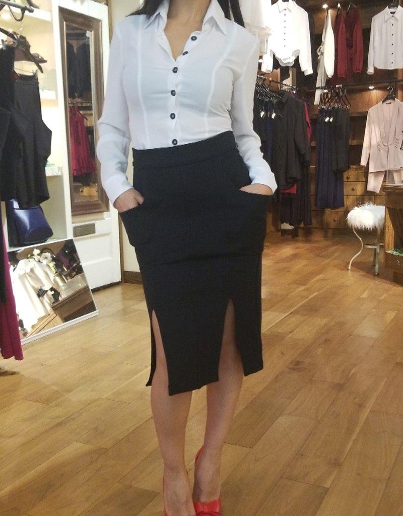 Plunge Pocket Two Slit Pencil Skirt