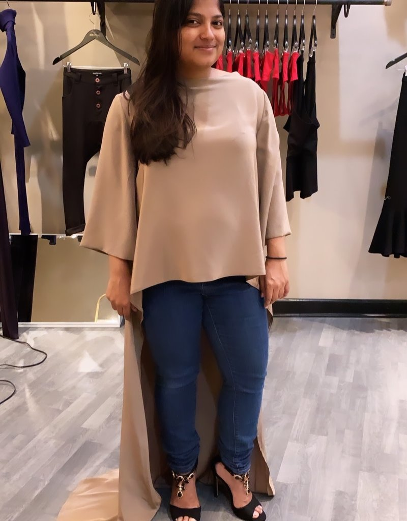 Boat-Neck high low blouse