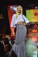 High Waist Double ruffle floor length skirt