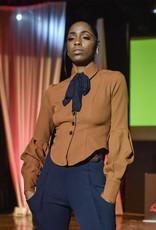 Copper Light wheat Suit Fabric Lantern Sleeve Button Down Blouse