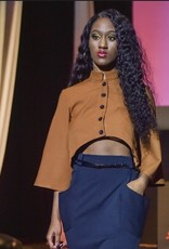 Copper Light Weight Suit Fabric Short Bell Sleeve Crop Button Down Blouse