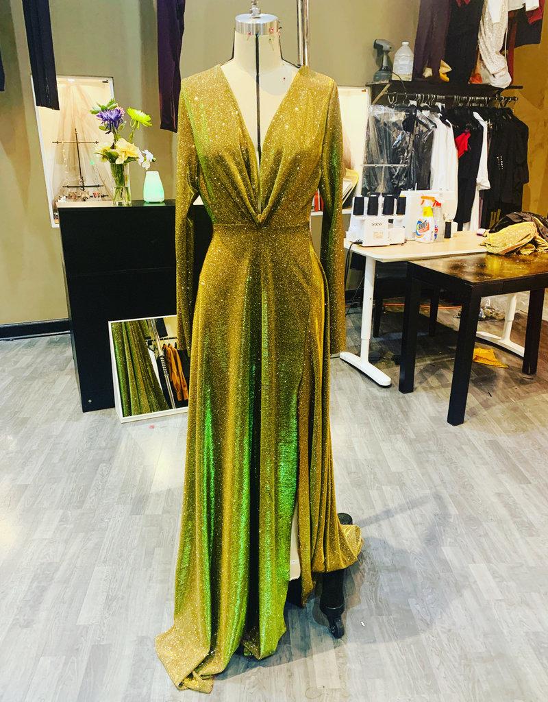 Shine Bright V-Neck Side slit Gown
