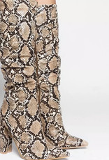 Snake Skin Thick Heel Boot