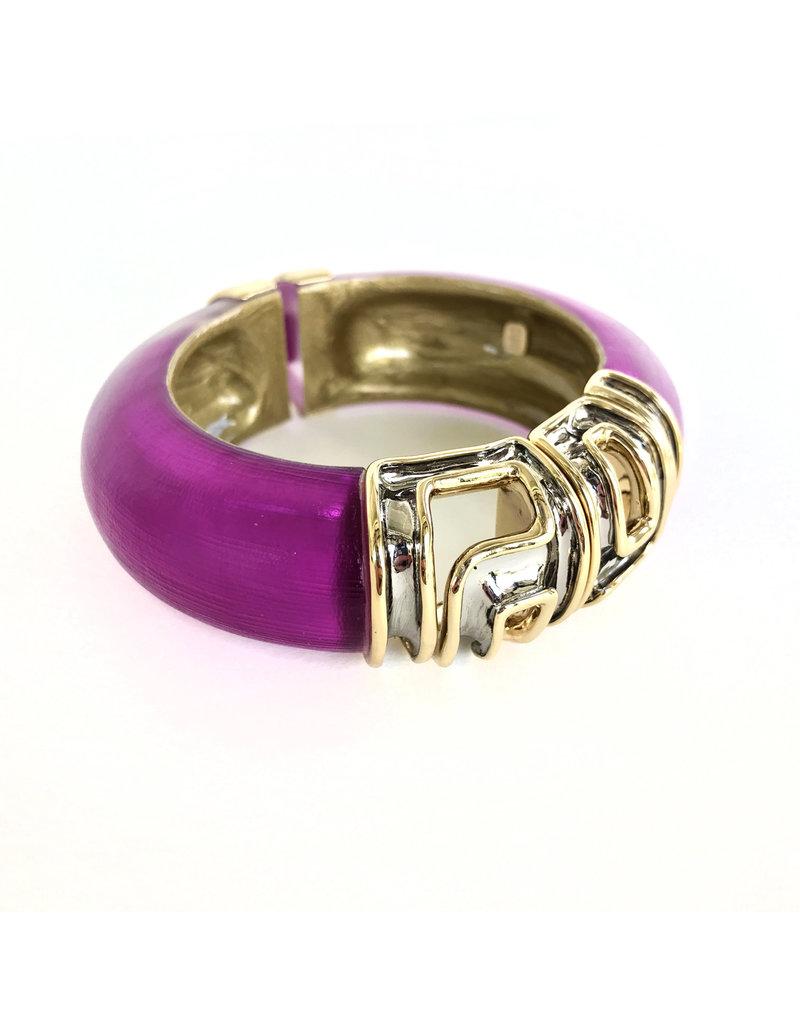 ALEXIS BITTAR Large Ornate Gold Capped Hinge Bracelet - Fuschia