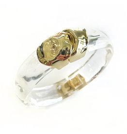 ALEXIS BITTAR Sculptural Metal Hinge Bracelet - Clear
