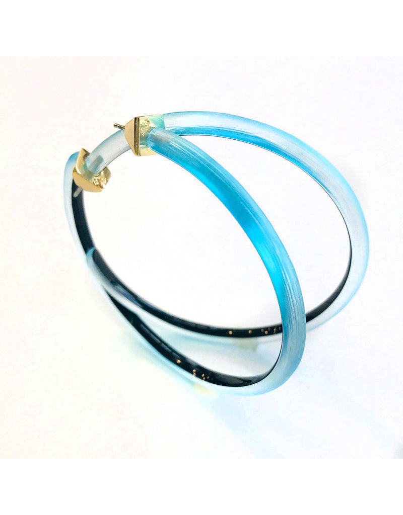 ALEXIS BITTAR Large Skinny Hoop Earrings - Light Turquoise