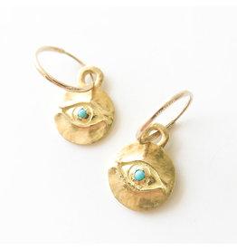 BREVARD 18k Med Horus w/ Turq Earring