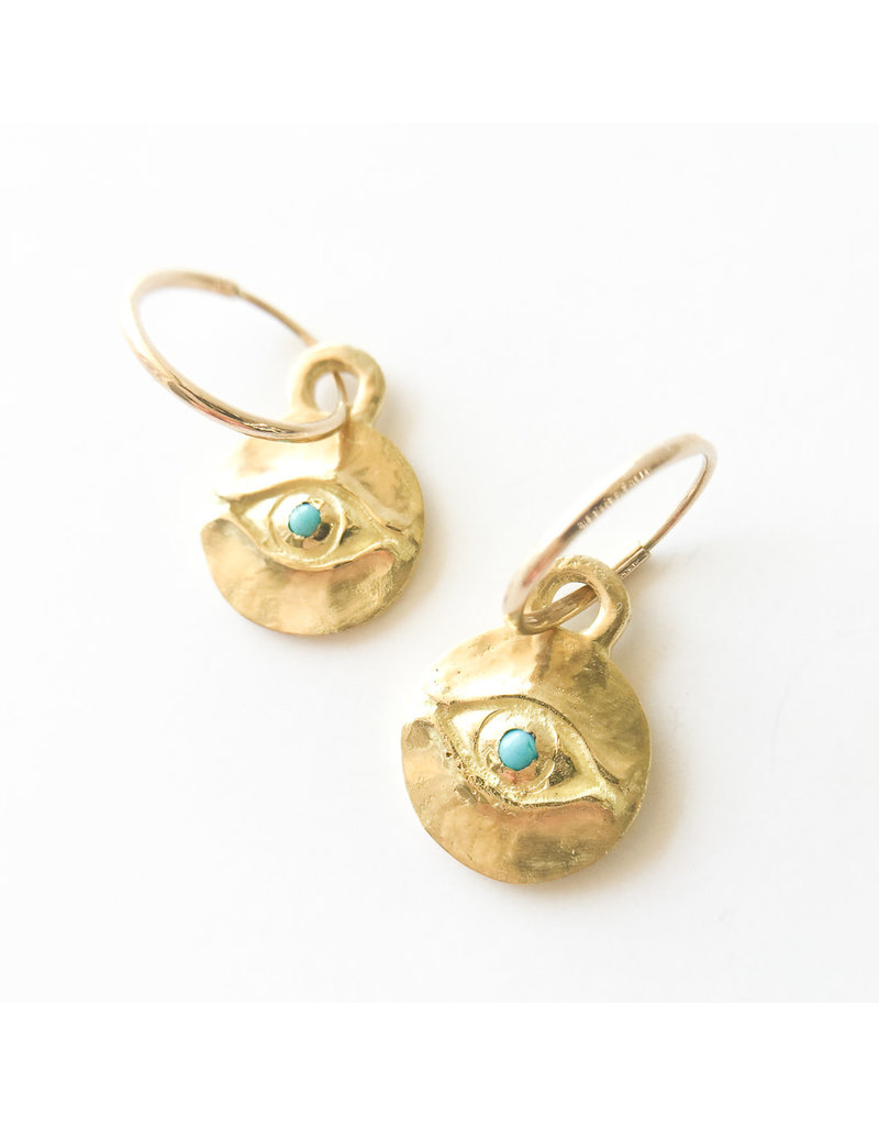 BREVARD 18K Horus Earrings with Turquoise