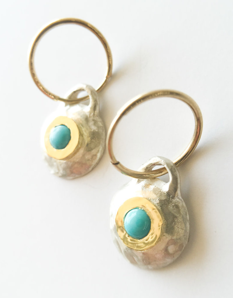 BREVARD Two Tone Roma Earrings with Turquoise