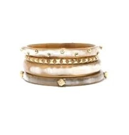 ASHLEY PITTMAN Moja Bangle Set Light Horn