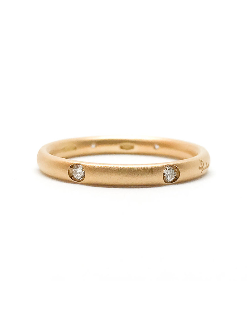 POMELLATO 18Karat Matte Rose Gold Lucciole Band 6 Diamonds