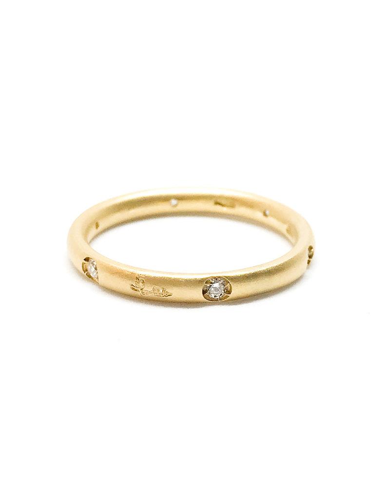 POMELLATO 18Karat Matte Yellow Gold Lucciole Band 6 Diamonds