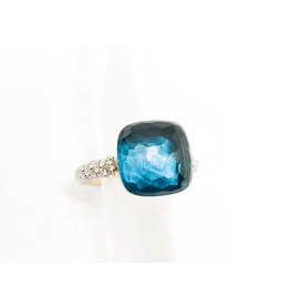 POMELLATO Diamond Nudo London Blue Topaz Ring