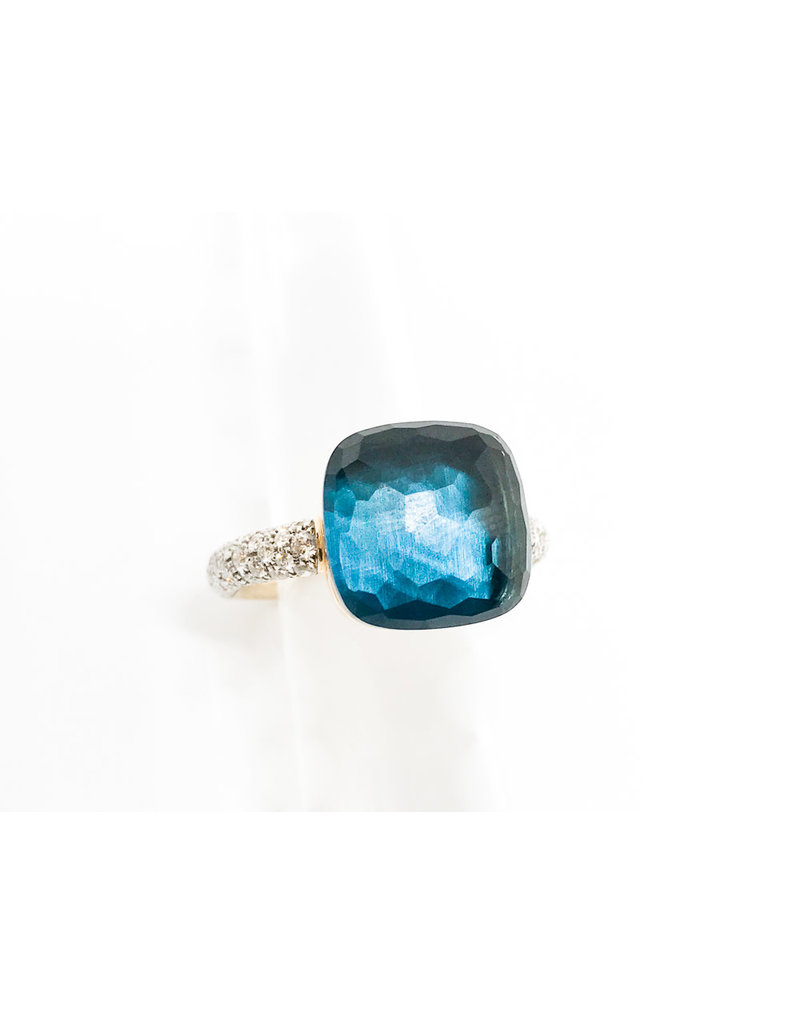POMELLATO London Blue Topaz with Diamond Nudo Ring