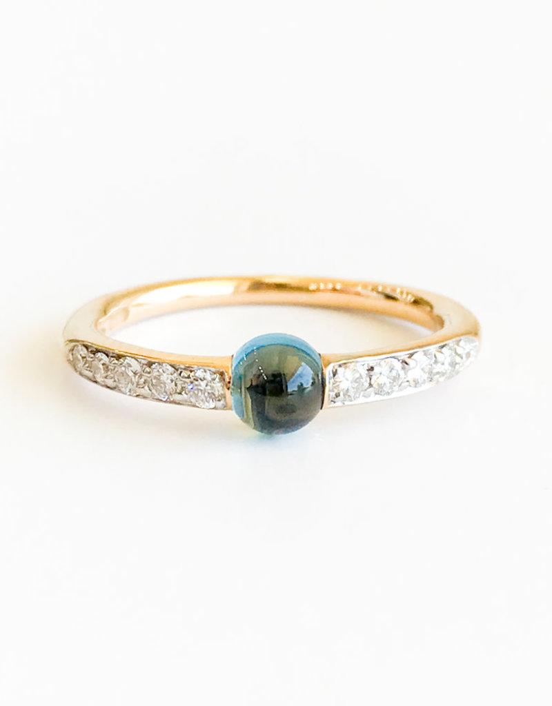 POMELLATO London Blue Topaz Diamond M'ama Non M'ama  Ring