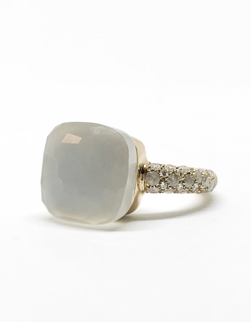 POMELLATO White Moonstone with Diamond Nudo Ring