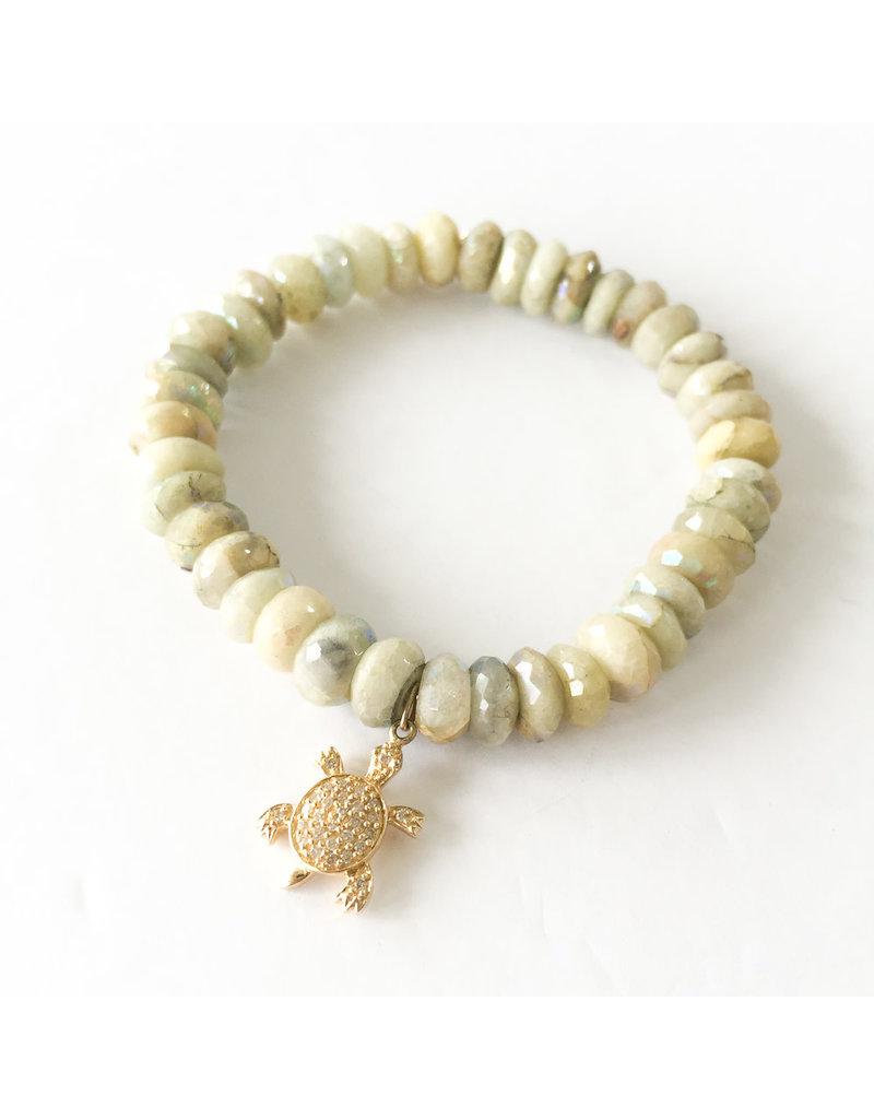 SYDNEY EVAN Aquamarine & Turtle Bracelet