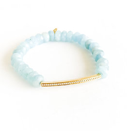 SYDNEY EVAN Aquamarine & Diamond Bar Bracelet