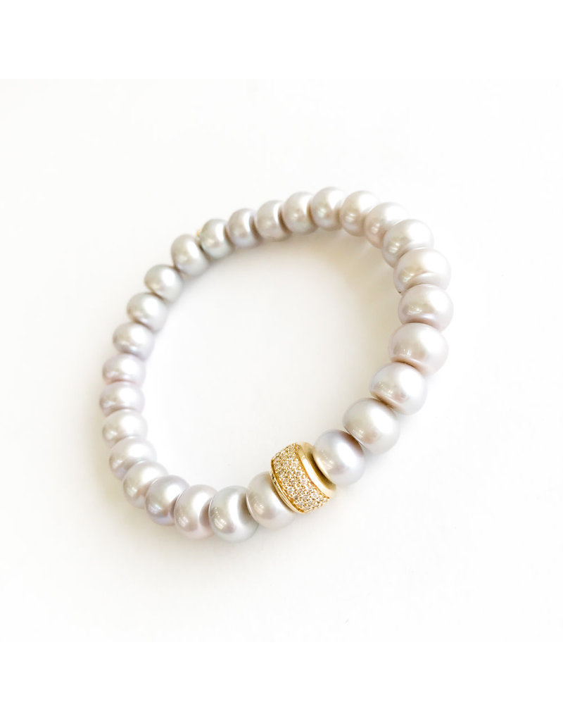 SYDNEY EVAN Grey Pearl & Diamond Rondelle Bracelet