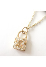 SYDNEY EVAN Diamond Key Hole Lock Necklace