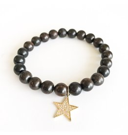 SYDNEY EVAN Ebony & Diamond Star Bracelet