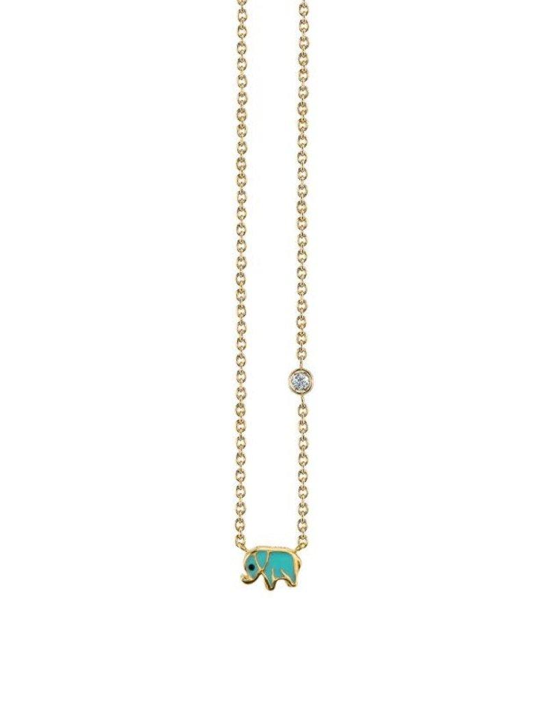 SYDNEY EVAN Mini Enamel Elephant Necklace