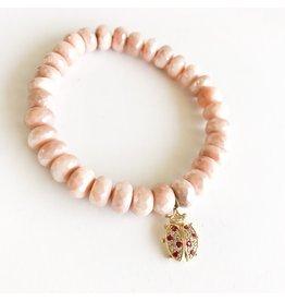 SYDNEY EVAN Peach Moonstone & Ladybug Bracelet