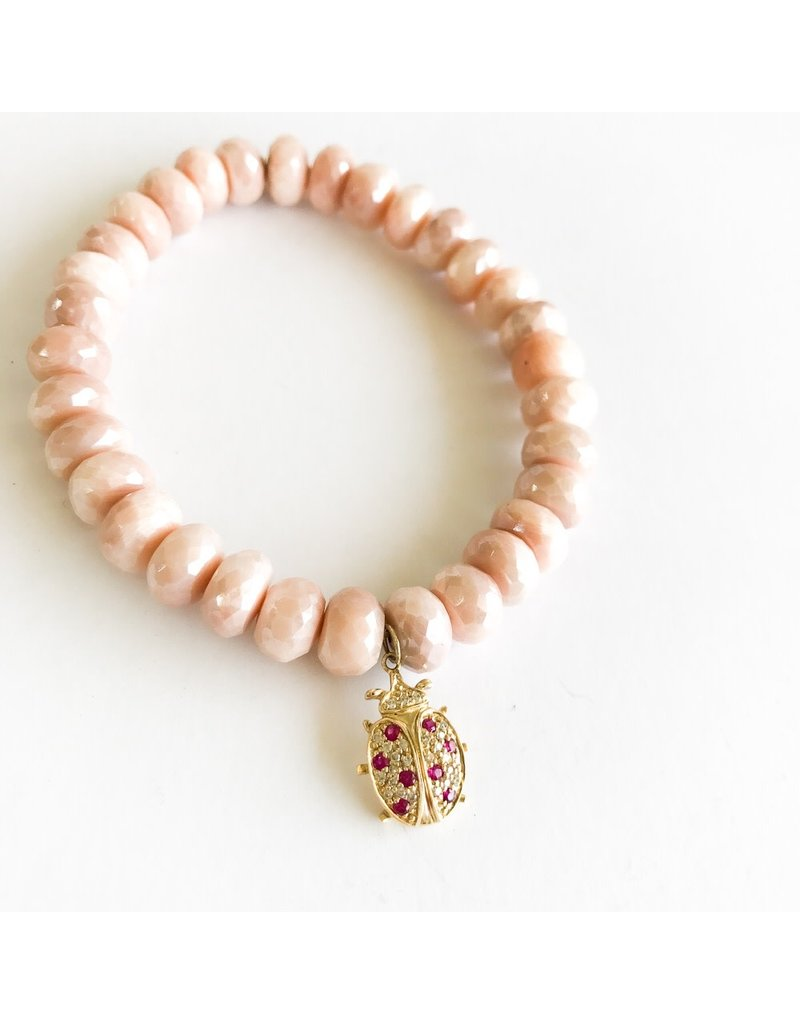 SYDNEY EVAN Peach Moonstone w/ Lady Bug Bracelet