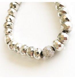 SYDNEY EVAN Pyrite & Pave Ball Bracelet