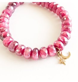 SYDNEY EVAN Red Moonstone & Celestial Duo Bracelet