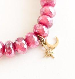 SYDNEY EVAN Red Moonstone & Celestial Duo Bracelet