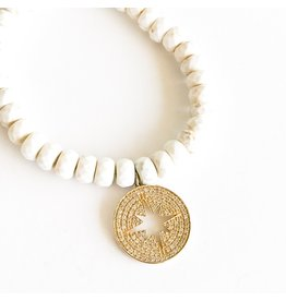 SYDNEY EVAN White Turquoise & Starburst Cutout Bracelet