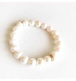 SYDNEY EVAN White Pearl & Diamond Rondelle Bracelet