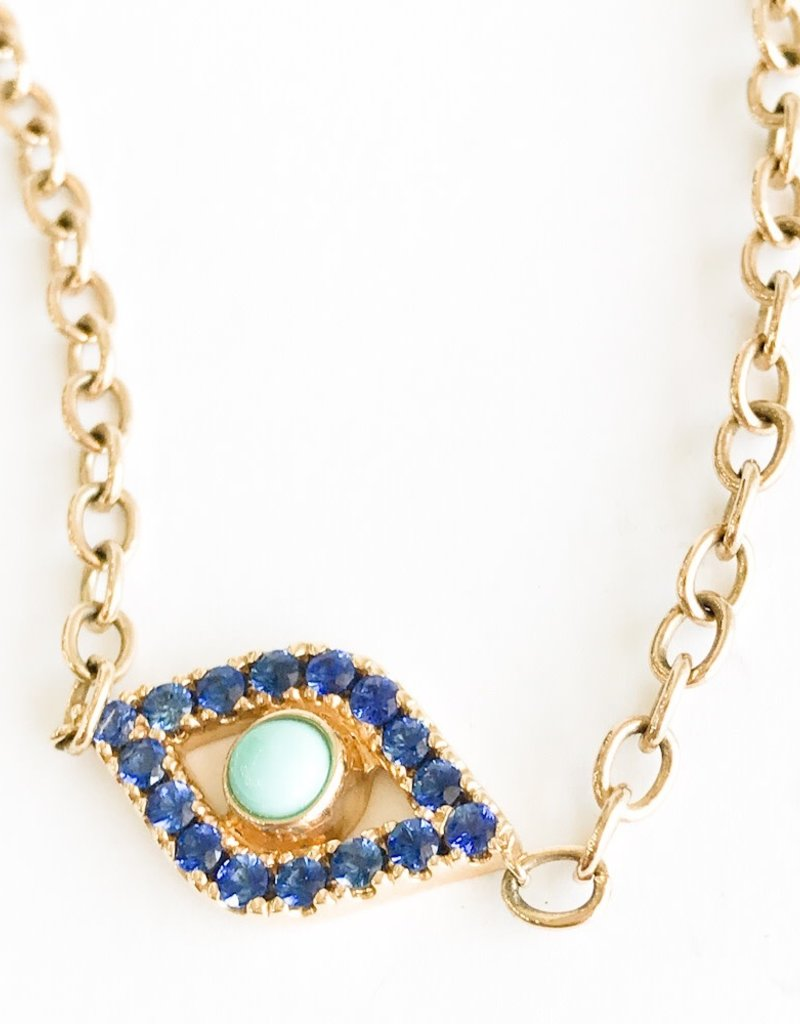 SYDNEY EVAN Extra Large Sapphire Evil Eye Necklace