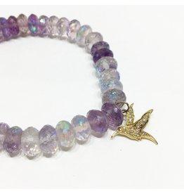 SYDNEY EVAN Amethyst & Humming Bird Bracelet