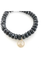 SYDNEY EVAN Black Spinel & Peace Sign Bracelet