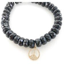 SYDNEY EVAN Black Spinel & Peace Sign Bracelet