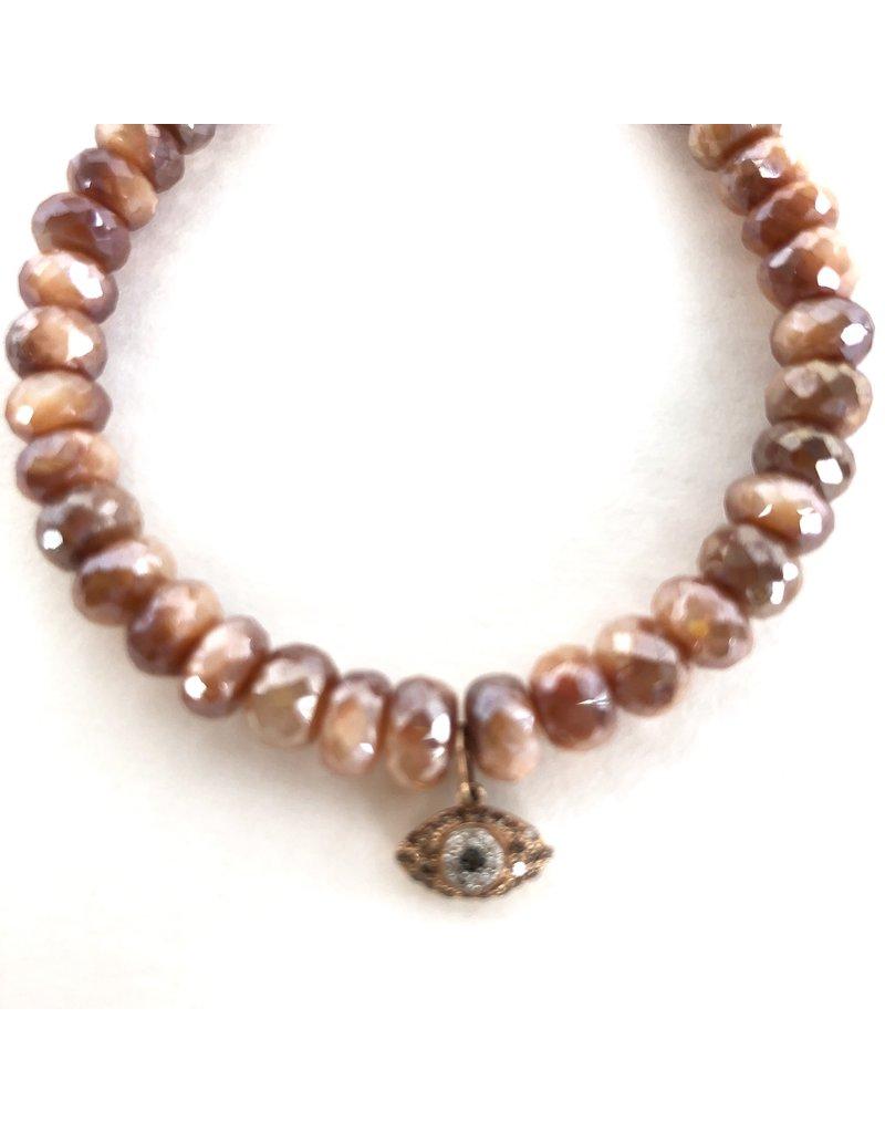 SYDNEY EVAN Brown Moonstone & Evil Eye Bracelet