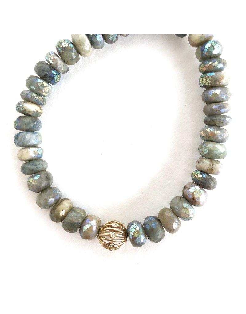 SYDNEY EVAN Coated Aquamarine & Wire Ball Bracelet