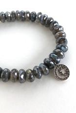 SYDNEY EVAN Mystic Labradorite & Moon & Star Medallion Bracelet
