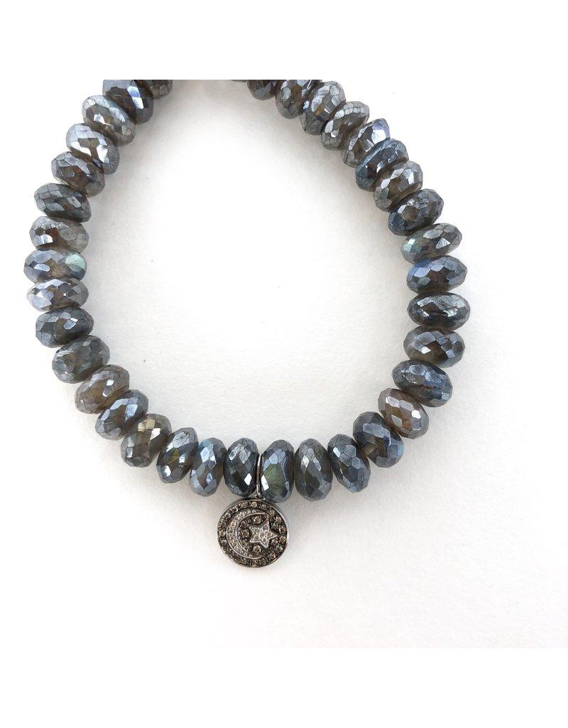 SYDNEY EVAN Labradorite with Pave Moon & Star Bracelet